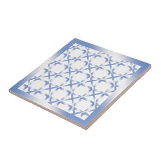 Blue Diamond Squared Ceramic Tile on White