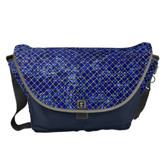 Blue Diamond Stained Glass Style Messenger Bag