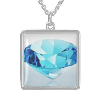 BLUE DIAMOND STERLING SILVER NECKLACE