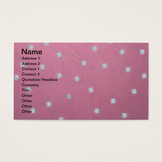 Blue diamond stitched on pink leather business card