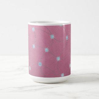 Blue diamond stitched on pink leather coffee mug