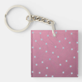 Blue diamond stitched on pink leather keychain