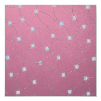 Blue diamond stitched on pink leather photograph