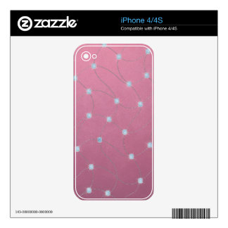 Blue diamond stitched on pink leather skin for the iPhone 4