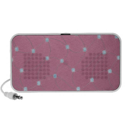 Blue diamond stitched on pink leather portable speakers