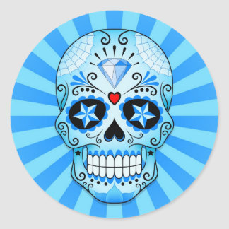 Blue Diamond Sugar Skull Classic Round Sticker