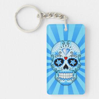 Blue Diamond Sugar Skull Keychain