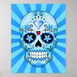 Blue Diamond Sugar Skull Poster