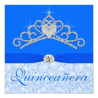 Blue Diamond Tiara Blue Quincenera 5.25x5.25 Square Paper Invitation Card