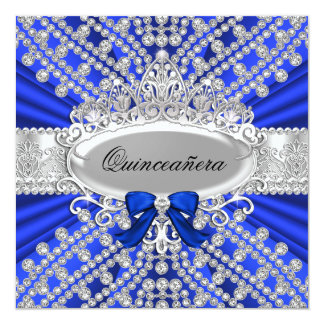 Blue Diamond & Tiara Quinceañera Invitation