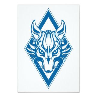 Blue Diamond Wolf Face Graphic Personalized Invitations