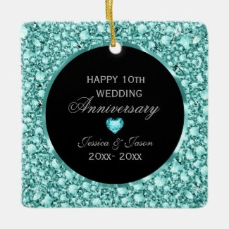 Blue Diamonds And Black Damask 10th Anniversary