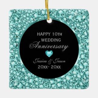 Blue Diamonds And Black Damask 10th Anniversary