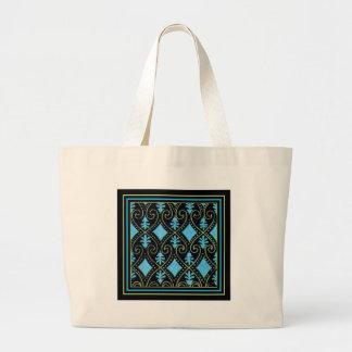 Blue Diamonds and Green Swirls Large Tote Bag