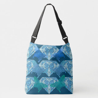 Blue Diamonds and Lace Butterflies Crossbody Bag