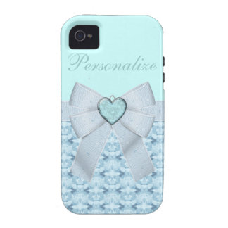 Blue Diamonds Heart Bow iPhone 4 4S Case