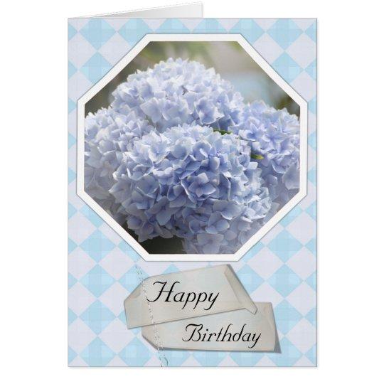 Blue Diamonds Hydrangea Flowers Card