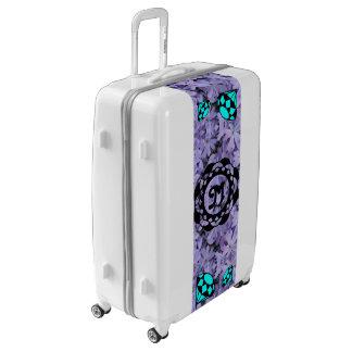 Blue Diamonds Monogram with Blue Flowers Luggage