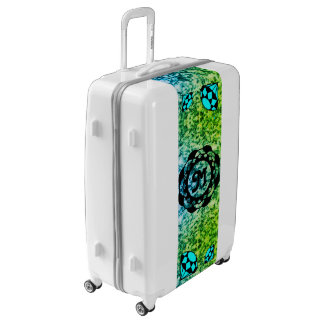 Blue Diamonds Monogram with Blue Marble Luggage