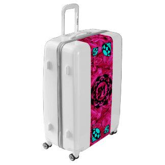 Blue Diamonds Monogram with Pink Flowers Luggage