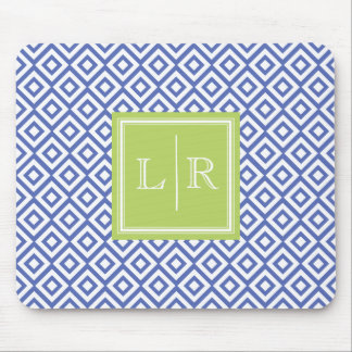 Blue Diamonds Pattern and Monogram Mouse Pad