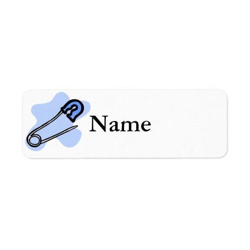Blue Diaper Pin Custom Return Address Label Zazzle