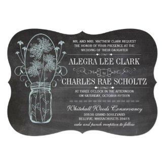 Blue Die Cut Rustic Chalkboard Mason Jar Wedding Cards