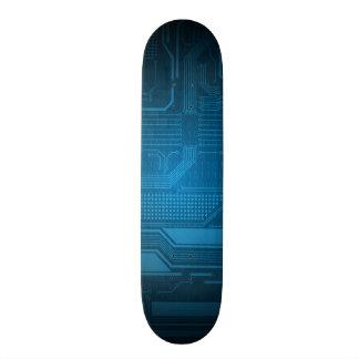 Blue Digital Binary Code Technology Style Skate Skateboard Deck