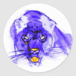 Blue Digital Pop Art Jaguar Classic Round Sticker