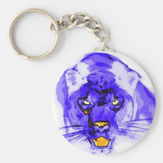Blue Digital Pop Art Jaguar Keychain