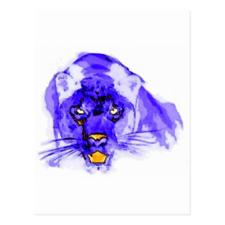 Blue Digital Pop Art Jaguar Postcards
