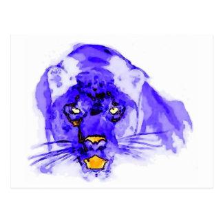 Blue Digital Pop Art Jaguar Post Card