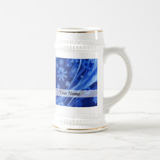 Blue digital snowflake pattern beer stein