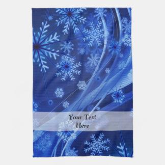 Blue digital snowflake pattern hand towel
