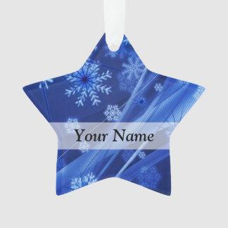 Blue digital snowflake pattern ornament