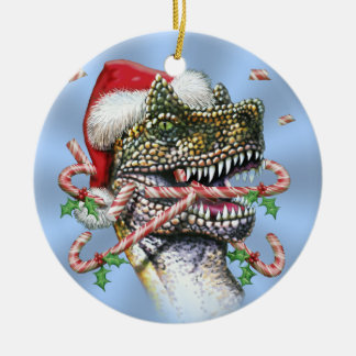 Blue Dino Christmas Double-Sided Ceramic Round Christmas Ornament