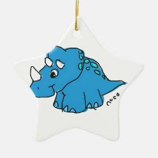 Blue Dino Double-Sided Star Ceramic Christmas Ornament