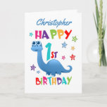 """Blue Dinosaur 1st Birthday Card<br><div class=""""desc"""">A special 1st birthday card! This bright fun first birthday card features a blue dinosaur, some pretty stars and colorful text. A cute design for someone who will be one year old. Add the 1st birthday child's name to the front of the card to customize it for the special boy...</div>"""