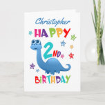 """Blue Dinosaur 2nd Birthday Card<br><div class=""""desc"""">A special 2nd birthday card! This bright fun second birthday card features a blue dinosaur, some pretty stars and colorful text. A cute design for someone who will be two years old. Add the 2nd birthday child's name to the front of the card to customize it for the special boy...</div>"""