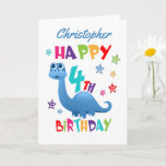 "Blue Dinosaur 4th Birthday Card<br><div class=""desc"">A special 4th birthday card! This bright fun fourth birthday card features a blue dinosaur, some pretty stars and colorful text. A cute design for someone who will be four years old. Add the 4th birthday child's name to the front of the card to customize it for the special boy...</div>"