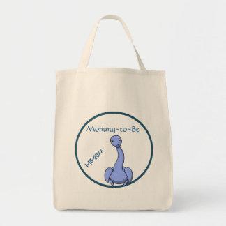 Blue Dinosaur Baby Shower Tote Bag