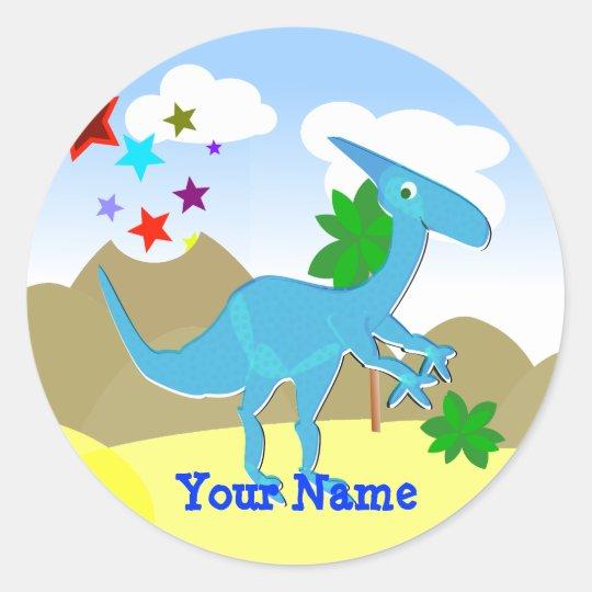 Blue Dinosaur Cartoon Name Sticker