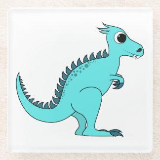 Blue Dinosaur Glass Coaster