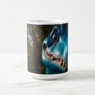 Blue Dinosaur Grinning Mug