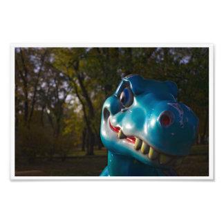 Blue Dinosaur Grinning Photo Print