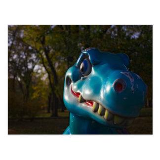 Blue Dinosaur Grinning Postcard