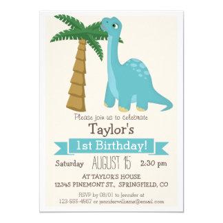 Blue Dinosaur Kid's Birthday Party 5x7 Paper Invitation Card