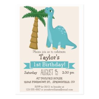 Blue Dinosaur Kid's Birthday Party Postcard
