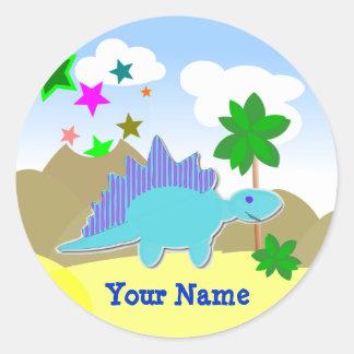 Blue Dinosaur Name Stickers