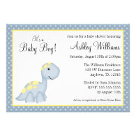Blue Dinosaur Polka Dots Boy Baby Shower Custom Invites